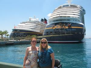 Leanna and I in the Bahamas with a classic (Magic) and new (Dream) ship. May 2012.